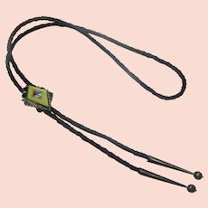 """Old Pawn Zuni Native American MOP Turquoise Coral Inlay Bolo Tie Sterling Silver 38"""""""