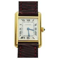 Genuine Vintage Estate Cartier Tank Watch 18k Solid Gold Case Leather Strap