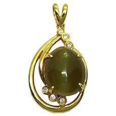 Cat's Eye Chrysoberyl & Natural Earth Mined Diamond Pendant 18k Gold