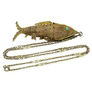 Antique Chinese Articulated Large Koi Fish Pendant Turquoise Eyes, Base Metal Chain