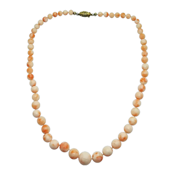 Estate Angel Skin Rose Pink Coral Graduated Round Bead Necklace 22""