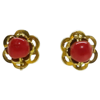 Oxblood Red Coral Estate Vintage 18k Yellow Gold Stud Earrings