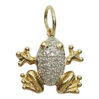 Designer Diamond Pave Frog Charm 14k Gold
