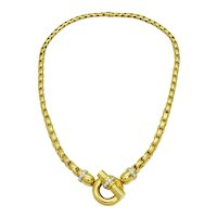 """1.00ct tw Diamond Pseudo Toggle Knot Weave Chain Necklace 18k Gold 18"""" Gemworld"""