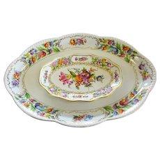 Estate Dresden Pierced Oval Dish & Bavaria Oval Platter Set, Floral Motif