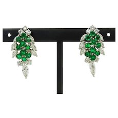 6.19ct tw Natural Emerald & Earth Mined Diamond Cluster Omega Earrings 18k White Gold