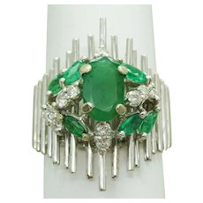 Natural Emerald & Earth Mined Diamond Open Bar Ring 14k White Gold Size 7.5