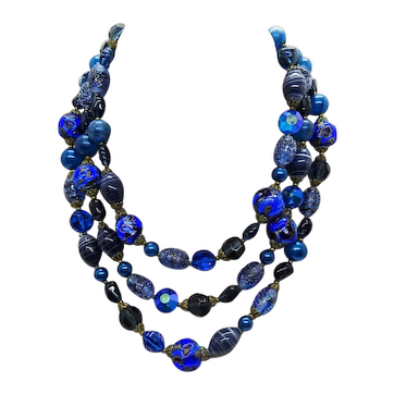 Vintage Crystal & Artisan Glass Bead 3-Strand Costume Collar Necklace