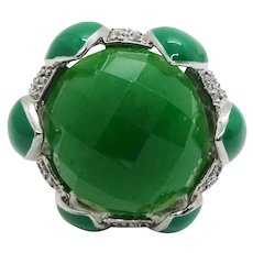 Faceted Green Jade Green Enamel Lotus Petal Pave Accent Sterling Silver Ring