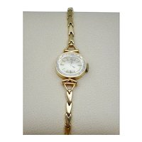 Estate Ladies Omega Side Oval Watch 14k Yellow Gold