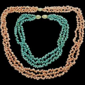 Lot of 2 Vintage Hawaiian PIKAKI LEI Necklaces in Original Box