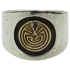 "Vintage M.M. Rogers ""Man in the Maze"" Sterling Silver & 14k Gold Ring Size 11"