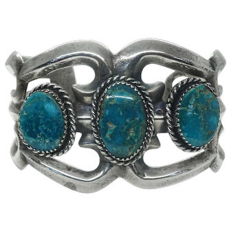 Old Pawn Southwest Turquoise Sterling Cuff Bracelet