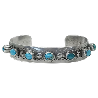 Old Pawn Southwest Turquoise Cabochon Sterling Cuff Bracelet, Signed G. Smith