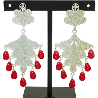 Oxblood Red Persian Coral Dangle Filigree Sterling Silver Earrings