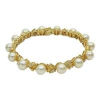 14k Yellow Gold Genuine Pearl Bead Diamond Leaf Tennis Bracelet,Mint