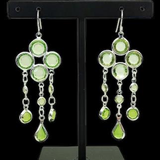 Peridot Clover Design Dangle Sterling Silver Hook Earrings