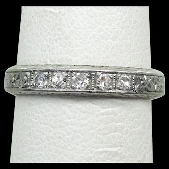 Vintage 1920s Estate Diamond Platinum Hand Engraved Band Ring, Size 4