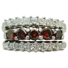 2ct Earth Mined Red & White Diamond 3-Band Ring 14k White Gold Size 9.75