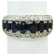 4.56ct tw Natural Sapphire & Earth Mined Diamond 3-Row Ring 14k White Gold Sz 8.5