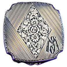Antique Sterling Silver Compact Mirror with Floral Engravings