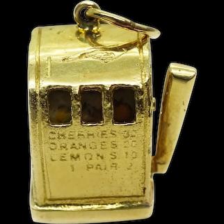Vintage Working Slot Machine Charm Pendant 14k Solid Yellow Gold