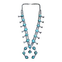"""Southwestern Turquoise Nugget Squash Blossom Necklace 27"""" 213.9 grams"""
