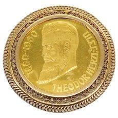 Theodor Herzl 1860-1960 12 Tribes .900 Gold Rare Bullion Medal Coin