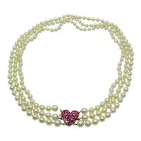 Triple Strand Pearl Necklace w/Ruby Pave 14k Heart Clasp