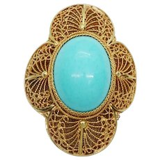 Natural Oval Turquoise Cabochon Filigree Piece 14k Gold