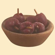 Fine Vintage Wooden Dollhouse Bowl with Apples