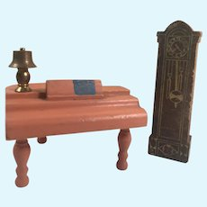 Early Vintage Strombecker Dollhouse Grand Piano & Grandfather Clock