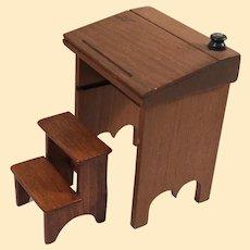 Fine Vintage Artist Made Dollhouse Desk & Step Stool