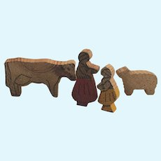 Early 1900's Wooden Toy Dolls Cow & Lamb