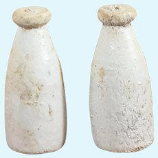 Early-Mid 1900's Wooden Dollhouse Milk Bottles