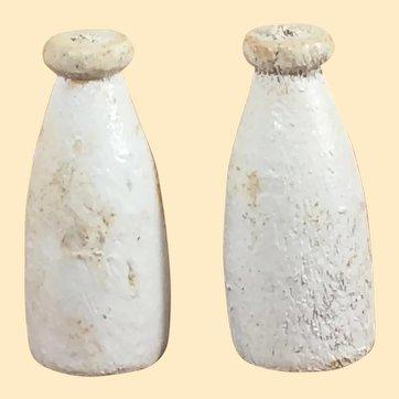 Early-Mid 1900's Wooden Dollhouse Milk Bottles