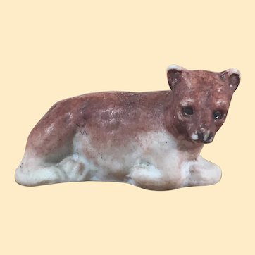 Antique Hertwig Bisque Laying Brown Bear