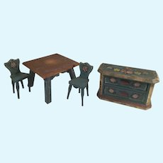 Vintage 1950's Dora Kuhn Dollhouse Furniture: Table & Chairs Chest of Drawers Buffet Cabinet