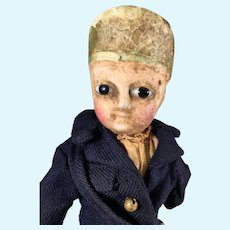 Mid 1800s Rare Reinforced Wax Head Soldier Doll