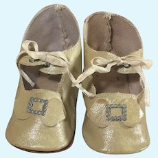German Antique Oilcloth Doll Shoes for Larger French and German Dolls