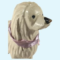 Antique French Carved Wooden Poodle Dog for French and German Dolls