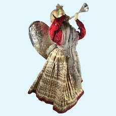 Wax Antique Christmas Angel Tree Topper Doll All Original c. 1880-1900