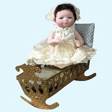 """4"""" Rare Glass Eyed All Bisque Bye Lo Baby in Ormolu Cradle"""