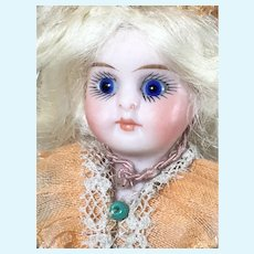 "3 1/2"" Mignonette Bebe All Bisque Jointed Antique Doll with Trunk and Toys"