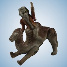 So Rare! Hertwig Jointed Bisque Monkey riding Camel