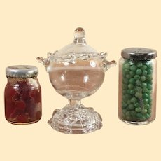Vintage Dollhouse Glass Pieces: Canned Cherries, Canned Peas and Spun Glass Compote