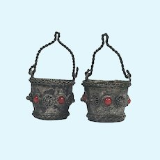 Antique Dollhouse Silver Metal Buckets with Coral Jewels