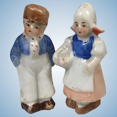 """1 3/4"""" Dutch Pair GERMANY All Bisque Immobile Dolls"""