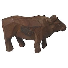 c.1900 Germany Carved Wooden Ox Doll Toy