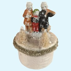 Vintage Snow Baby Type All Bisque Carolers Doll Candy Container